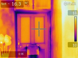 Green Footsteps Ltd Thermal imaging image of exterior door