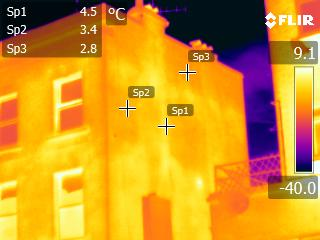 Thermal image of building exterior