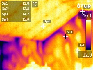 Thermal image of thermal bypass in dot and dab plaster boarded walls